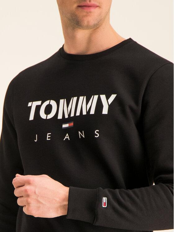 Tommy Jeans Tommy Jeans Bluză Tjm Novel Logo Crew DM0DM07614 Negru Regular Fit