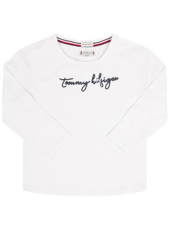 Tommy Hilfiger Tommy Hilfiger Bluse Sequins Graphic Tee KG0KG04581 M Weiß Regular Fit