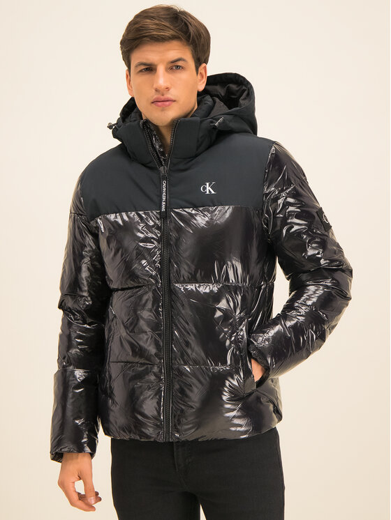 Calvin Klein Jeans Calvin Klein Jeans Doudoune High-Gloss Hooded Puffer J30J314075 Noir Regular Fit