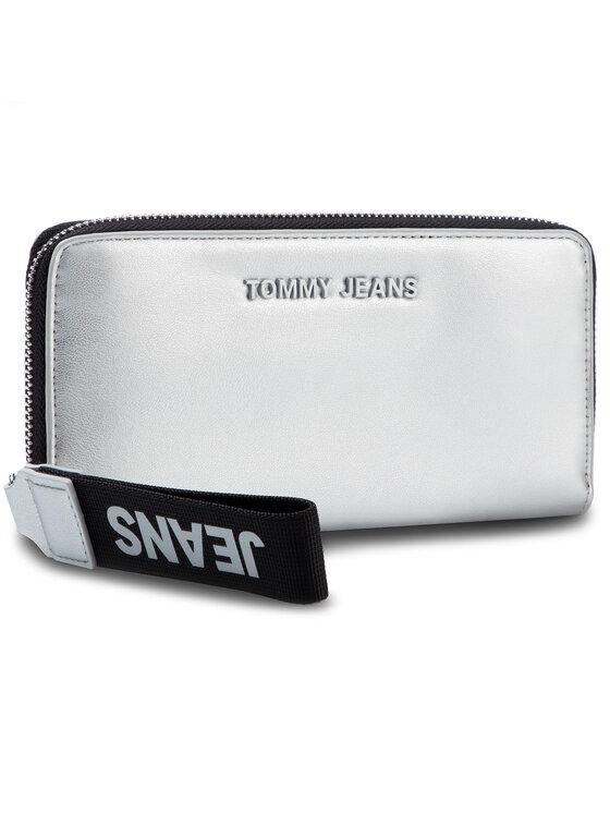 Tommy Jeans Tommy Jeans Duży Portfel Damski Tjw Femme Pu Lrg Wallet Metallic AW0AW07573 Srebrny