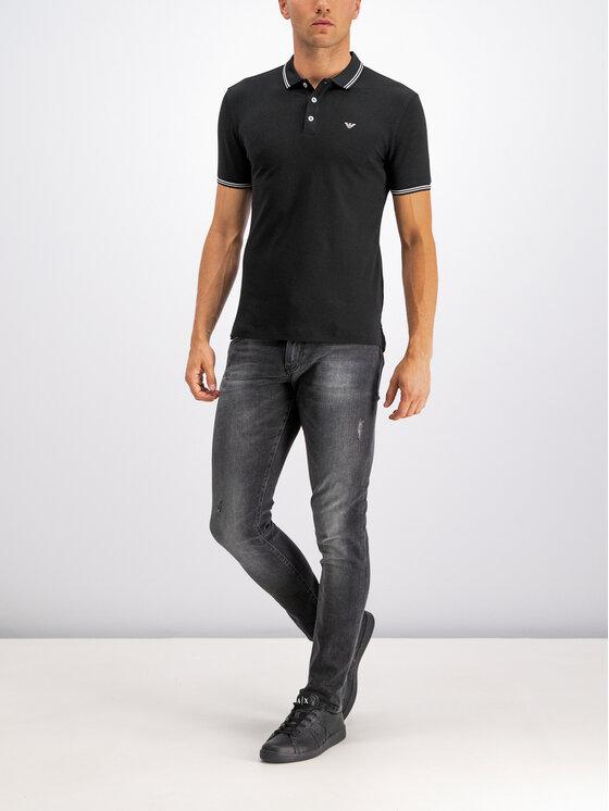 Emporio Armani Emporio Armani Тениска с яка и копчета 8N1F30 1JPTZ 0999 Черен Regular Fit