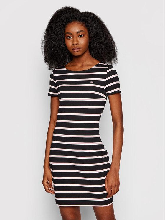 Tommy Jeans Sukienka codzienna Tjw Striped Bodycon DW0DW10206 Czarny Regular Fit