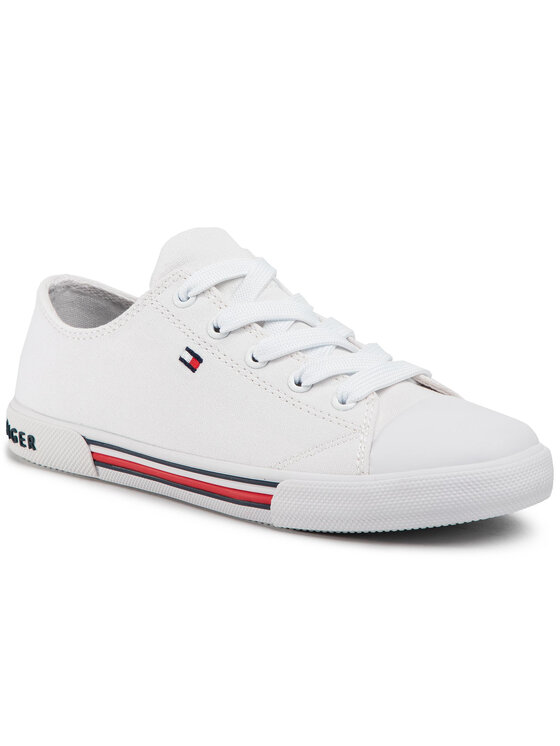 Tommy Hilfiger Tommy Hilfiger Trampki Low Cut Lace Up Sneaker T3X4-30692-0890 S Biały