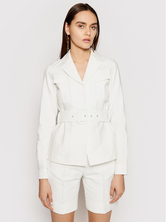 Victoria Victoria Beckham Demisezoninė striukė Double Cloth 2220WJK001115A Balta Slim Fit