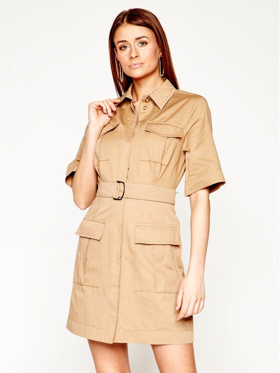 Pinko Sukienka koszulowa Dodoria 20201 PBK2 1B14EW. 8004 Brązowy Regular Fit