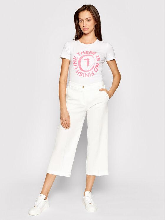 Trussardi Trussardi T-Shirt 56T00382 Biały Slim Fit