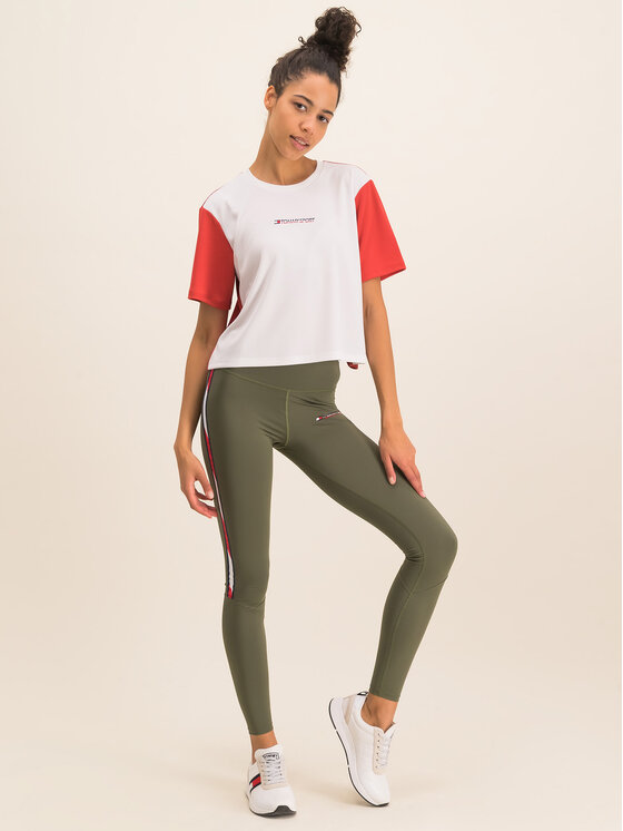 Tommy Sport Marškinėliai Boxy S10S100381 Balta Regular Fit