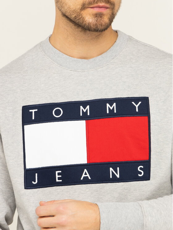 Tommy Jeans Tommy Jeans Bluza TJM Tommy Flag Crew DM0DM07201 Szary Regular Fit