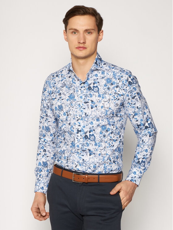 Emanuel Berg Marškiniai Harvard HV37 Mėlyna Slim Fit