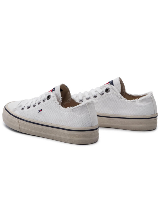 Tommy Jeans Tommy Jeans Sneakers aus Stoff Lowcut Tommy Jeans Sneaker EM0EM00298 Weiß