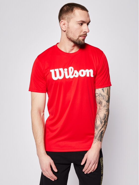Wilson Wilson Koszulka techniczna Uwii Script Tech Tee WRA770308 Czerwony Regular Fit