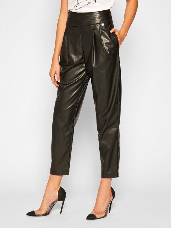 TwinSet Spodnie skórzane 202TP2061 Czarny Regular Fit