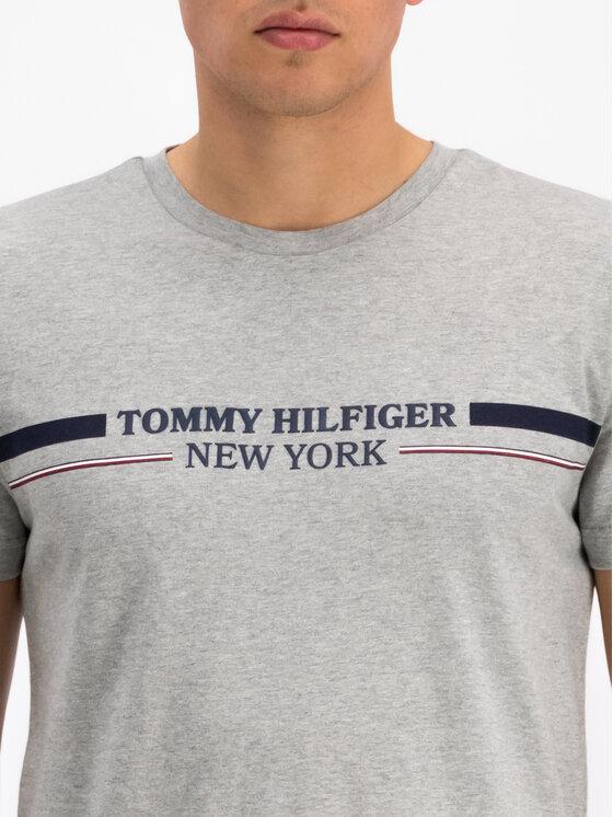Tommy Hilfiger Tommy Hilfiger T-Shirt Stripe MW0MW10846 Szary Regular Fit