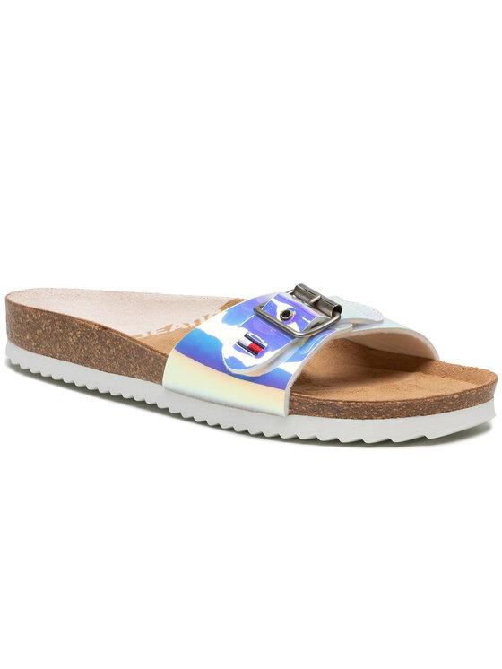 Tommy Jeans Klapki Iridescent Flat Mule EN0EN01328 Kolorowy