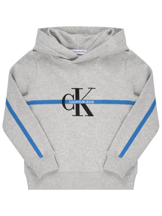 Calvin Klein Jeans Calvin Klein Jeans Bluza Monogram Stripe Hoodie IB0IB00465 Szary Regular Fit