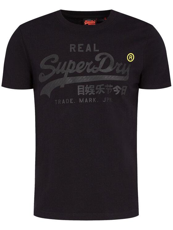 Superdry Superdry Tričko VL Tonal Tape Tee M1000112A Čierna Regular Fit