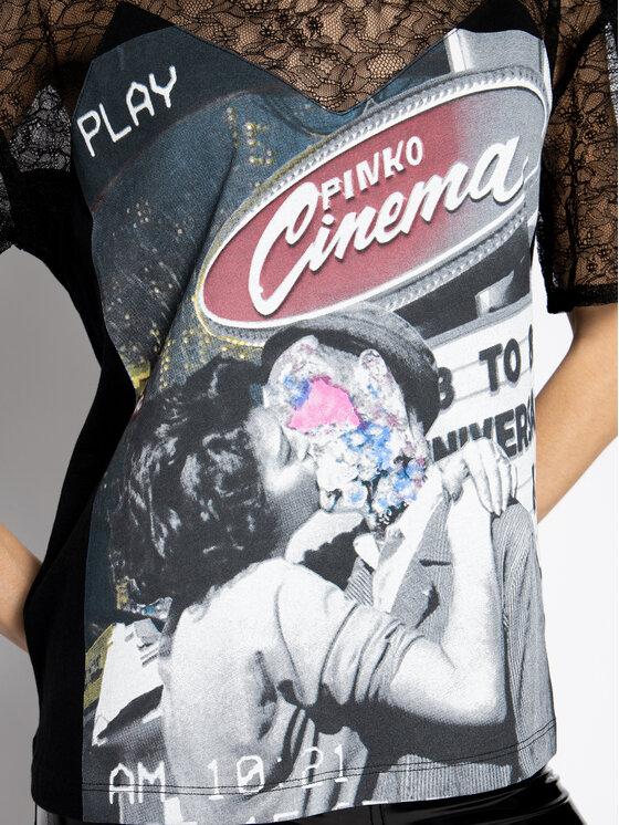Pinko Pinko T-Shirt Margheritne PE 20 BLK01 1G14WR Y5BD Czarny Regular Fit