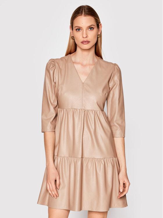 Rinascimento Dirbtinės odos suknelė CFC0102329003 Smėlio Regular Fit