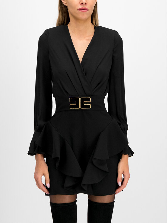 Elisabetta Franchi Elisabetta Franchi Σετ μπλουζάκι και φούστα AB-909-96E2-V399 Μαύρο Slim Fit