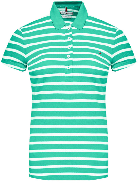 Tommy Hilfiger Tommy Hilfiger Polo Stripe WW0WW27151 Zielony Slim Fit