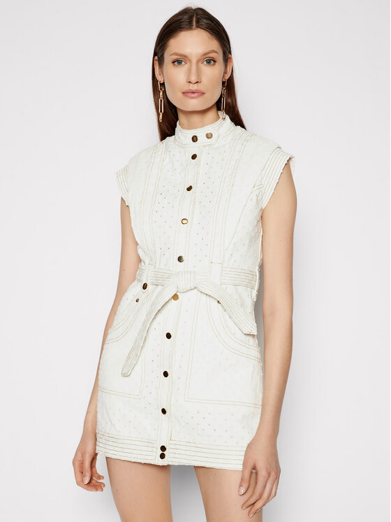 IXIAH Džinsinė suknelė IX22-25052 Balta Regular Fit