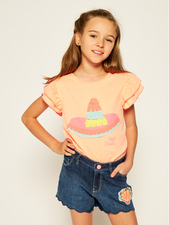 Billieblush Marškinėliai U15730 Oranžinė Regular Fit
