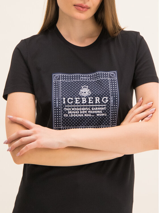 Iceberg Iceberg Tričko 19II2P0F0916301 Čierna Regular Fit