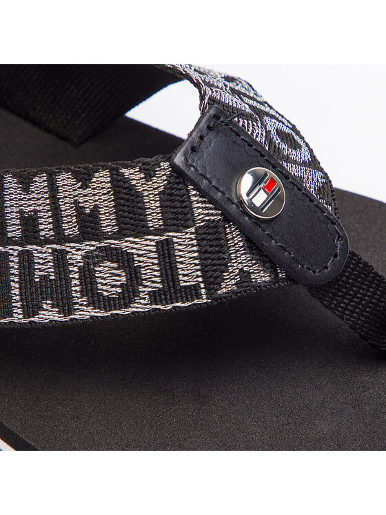 TOMMY HILFIGER TOMMY HILFIGER Джапанки Flat Beach Sandal Shiny Jacquard FW0FW04117 Черен