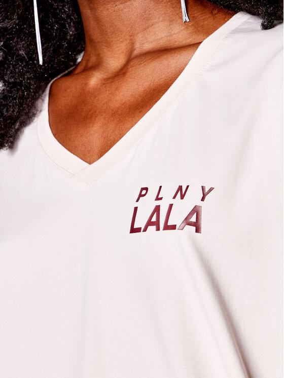 PLNY LALA PLNY LALA T-Shirt Prima PL-KO-VN-00131 Beżowy V-Neck Fit