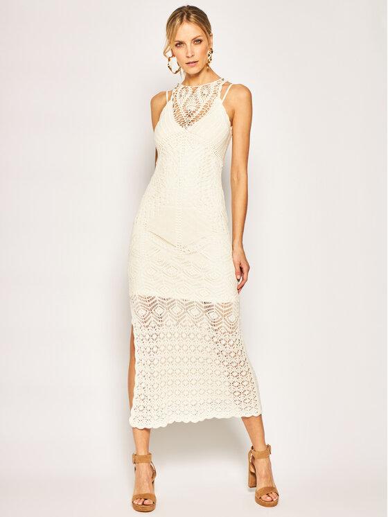 TwinSet Sukienka dzianinowa 201TT3150 Biały Slim Fit
