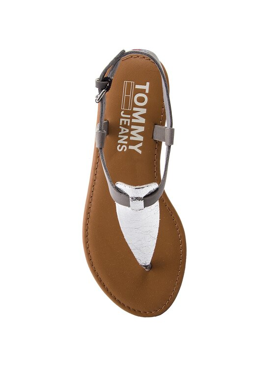 Tommy Jeans Tommy Jeans Japonki Metallic Flat Thong Sandal EN0EN00205 Srebrny
