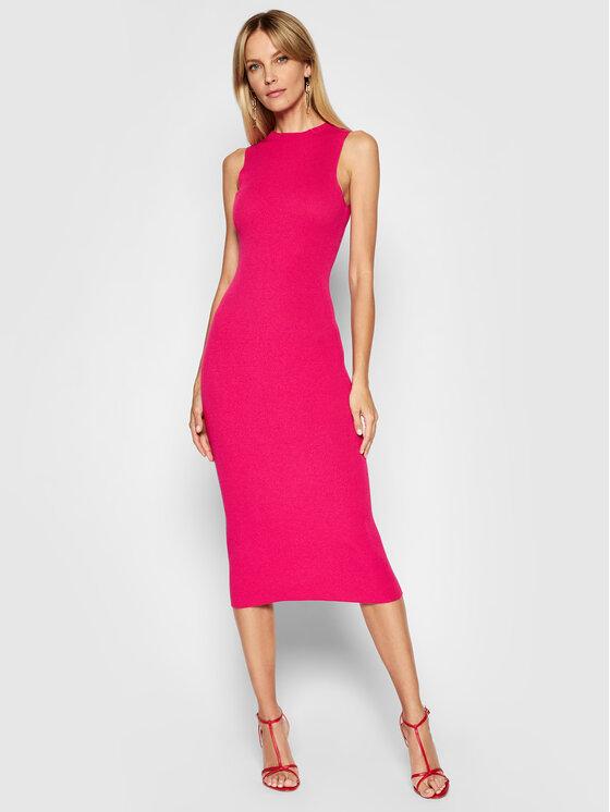 Kontatto Trikotažinė suknelė 3M7227 Rožinė Slim Fit
