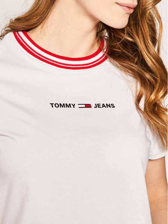 Tommy Jeans Tommy Jeans T-Shirt Tjw Contrast Rib Logo Tee DW0DW08057 Bílá Regular Fit