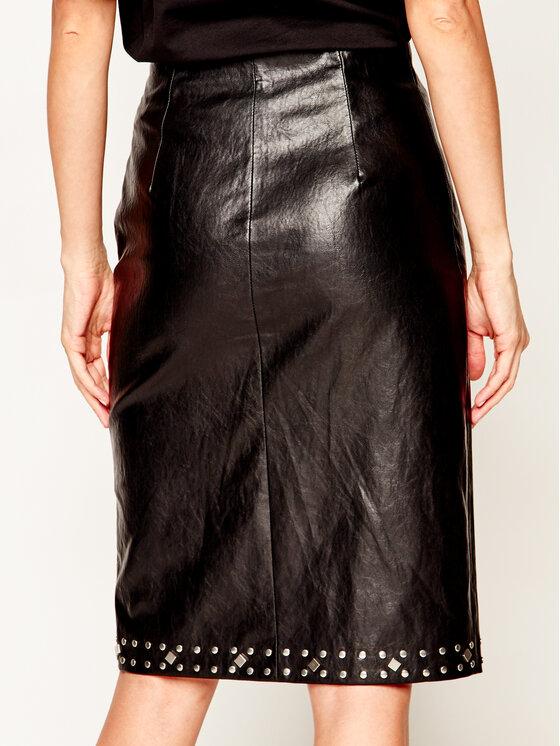 TWINSET TWINSET Dirbtinės odos sijonas 201TT2012 Juoda Regular Fit