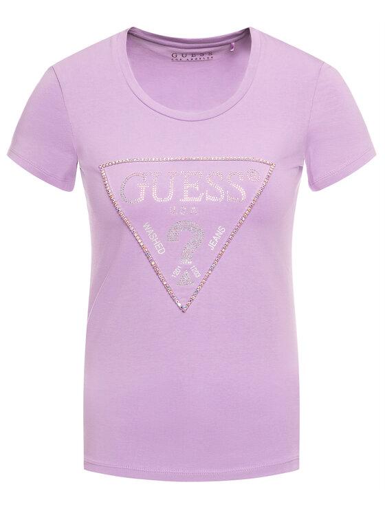 Guess Guess T-Shirt W01I90 J1300 Fialová Slim Fit