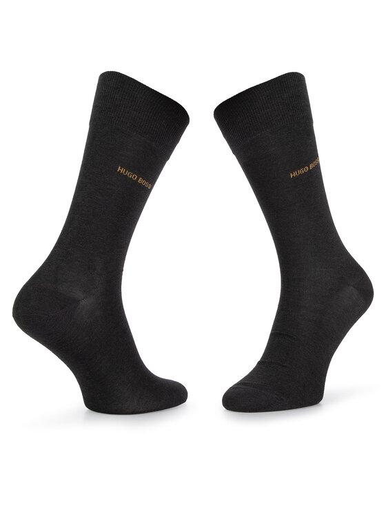 Boss Boss Lot de 2 paires de chaussettes hautes homme 2P RS Minipattern MC 50414699 Noir