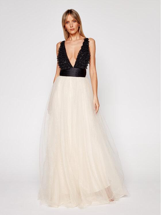 Elisabetta Franchi Sukienka wieczorowa AB-114-07E1-V829 Beżowy Slim Fit