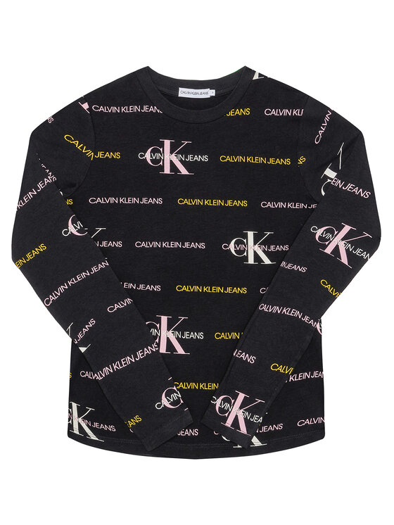 Calvin Klein Jeans Calvin Klein Jeans Bluzka Mix Logo Allover IG0IG00560 Czarny Slim Fit