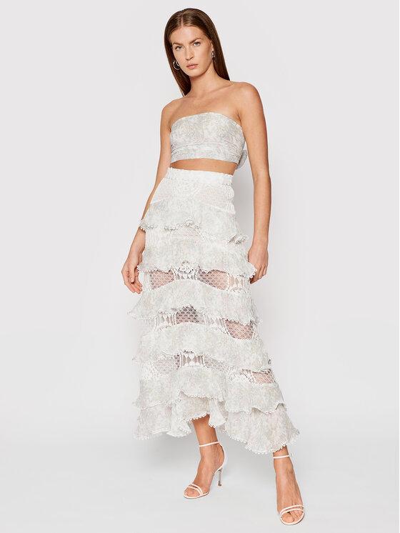 IXIAH Komplektas: palaidinė ir sijonas X211-60146 Balta Slim Fit