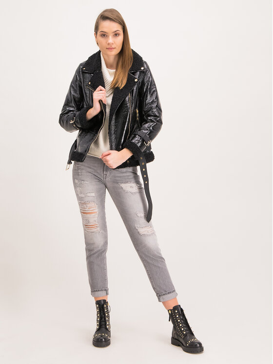 TWINSET TWINSET Jacke aus Kunstleder 192MT2030 Schwarz Regular Fit