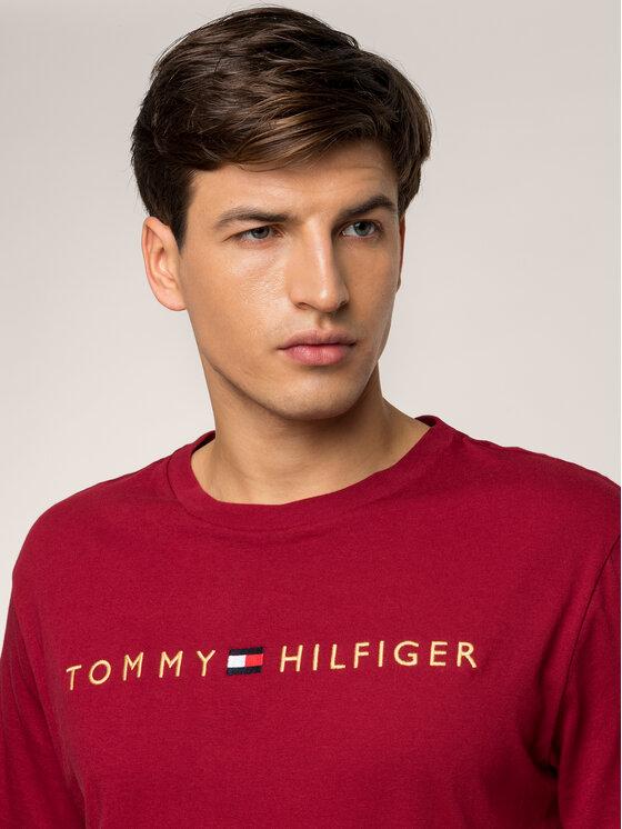 Tommy Hilfiger Tommy Hilfiger T-Shirt Logo Gold UM0UM01679 Μπορντό Regular Fit