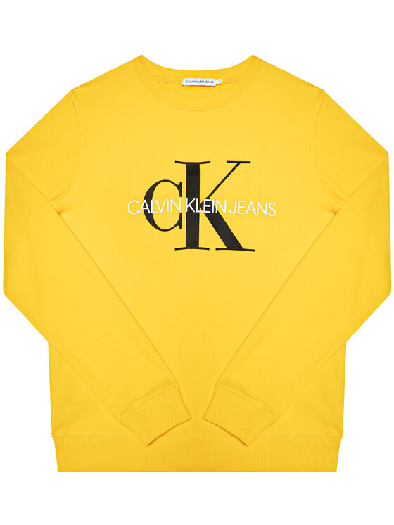 Calvin Klein Jeans Bluza Monogram Logo IU0IU00069 Żółty Regular Fit