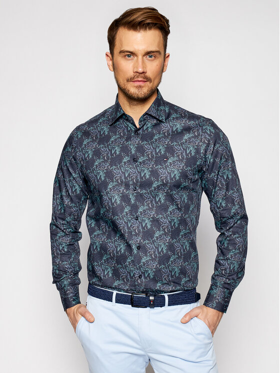 Tommy Hilfiger Tailored Marškiniai Teal Floral MW0MW16487 Tamsiai mėlyna Regular Fit