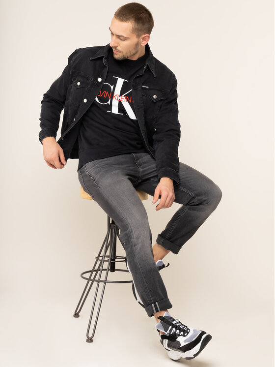 Calvin Klein Jeans Calvin Klein Jeans Mikina Monogram J30J313222 Čierna Regular Fit