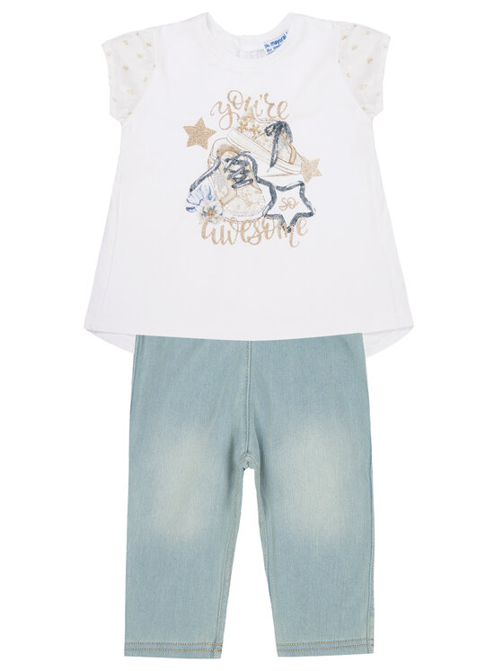 Mayoral Mayoral Ensemble t-shirt et leggings 1746 Blanc Regular Fit