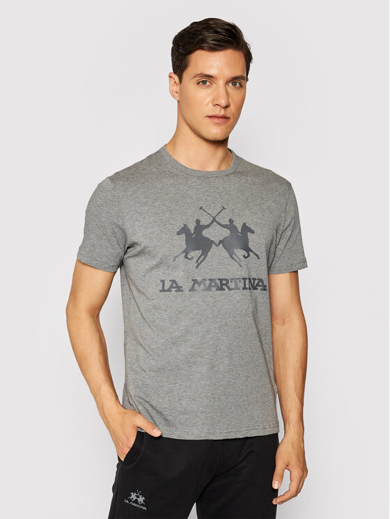 La Martina Marškinėliai CCMR01 JS206 Pilka Regular Fit