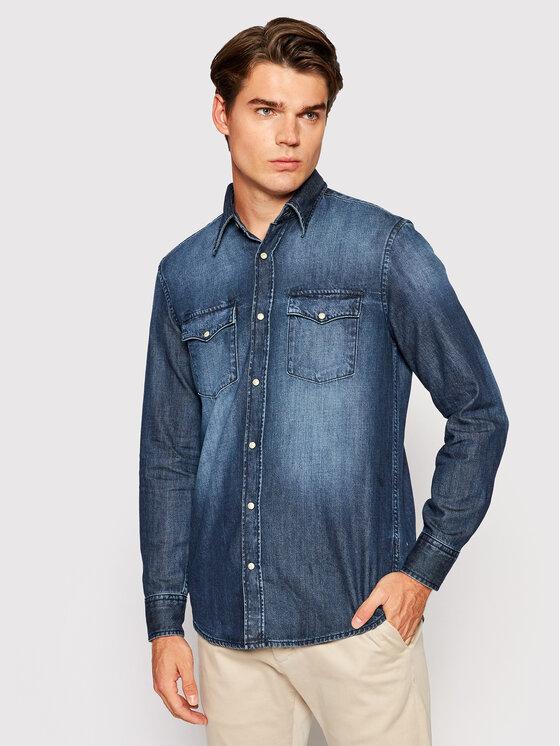United Colors Of Benetton džinsiniai marškiniai 5AVV5QKJ8 Tamsiai mėlyna Regular Fit