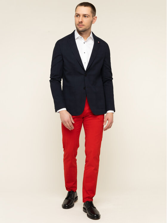 Tommy Hilfiger Tailored Tommy Hilfiger Tailored Szövet nadrág Flex TT0TT06924 Piros Slim Fit