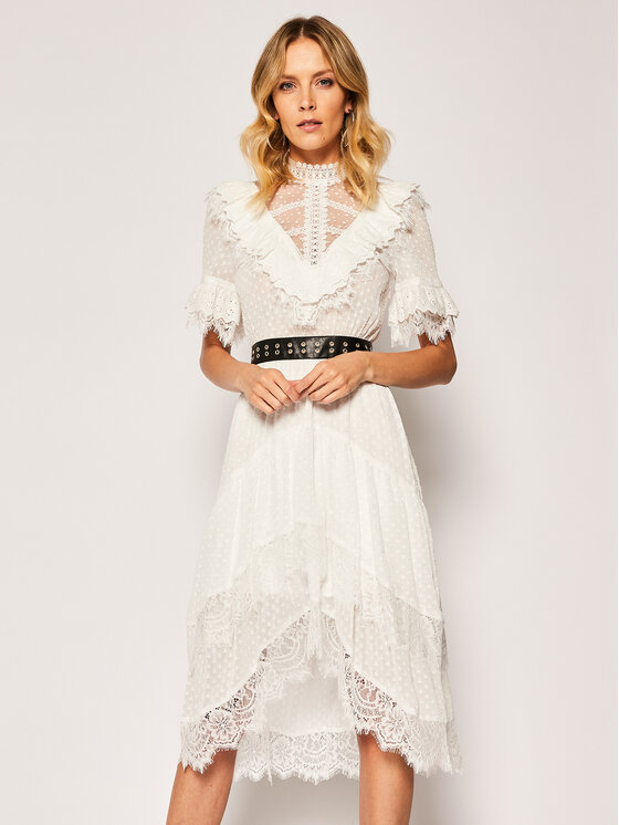 The Kooples The Kooples Φόρεμα καλοκαιρινό FROB20149K Λευκό Regular Fit