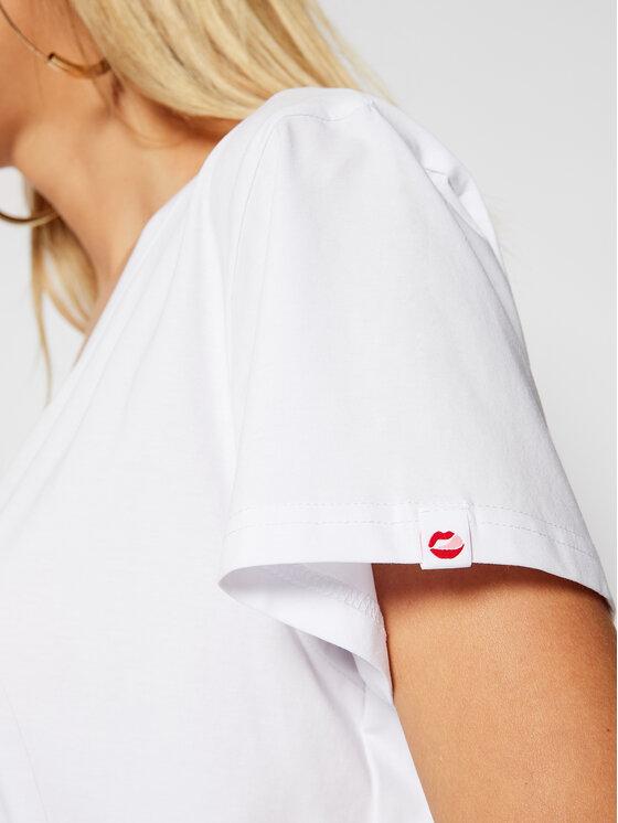 PLNY LALA PLNY LALA T-Shirt Kiss PL-KO-VN-00090 Biały V-Neck Fit